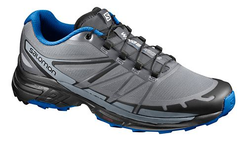 Mens Salomon Wings Pro 2 Trail Running Shoe - Grey/Blue 12