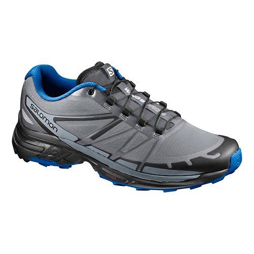 Mens Salomon Wings Pro 2 Trail Running Shoe - Grey/Blue 13