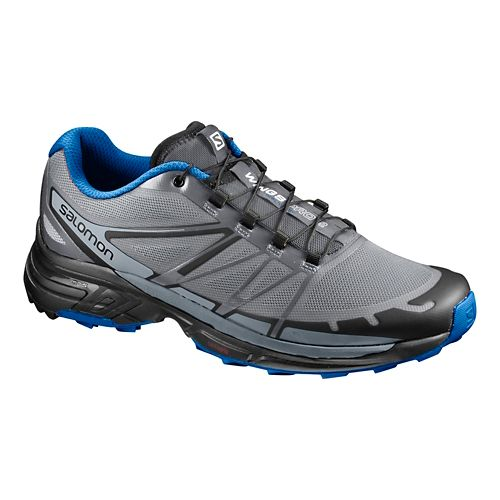 Mens Salomon Wings Pro 2 Trail Running Shoe - Grey/Blue 14