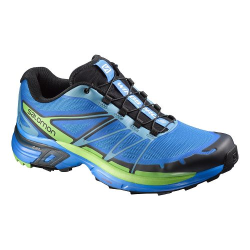 Mens Salomon Wings Pro 2 Trail Running Shoe - Blue/Black 8