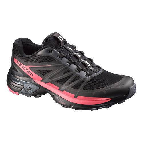 Womens Salomon Wings Pro 2 Trail Running Shoe - Black/Pink 10