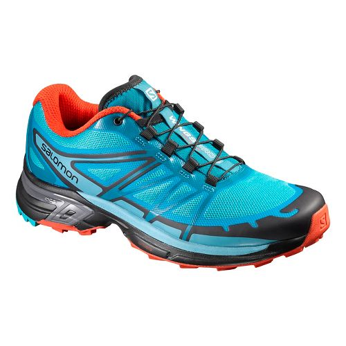 Womens Salomon Wings Pro 2 Trail Running Shoe - Blue/Orange 5