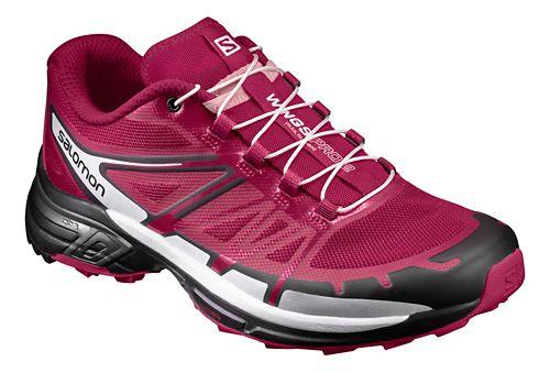 Womens Salomon Wings Pro 2 Trail Running Shoe - Sangria/Black 7.5