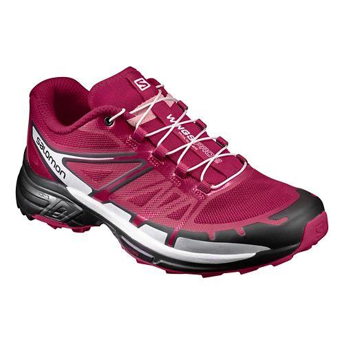 Womens Salomon Wings Pro 2 Trail Running Shoe - Sangria/Black 10.5