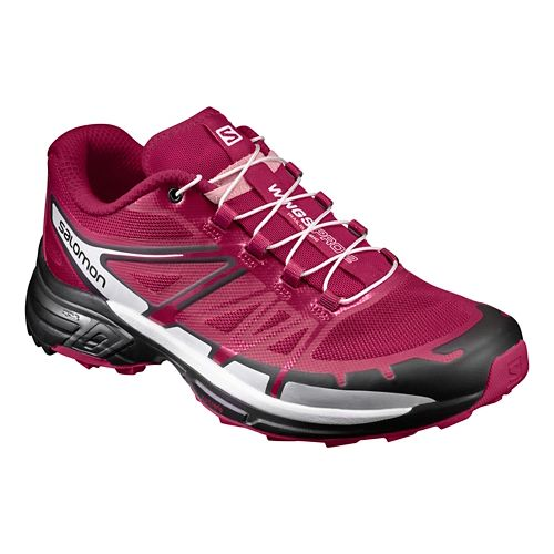 Womens Salomon Wings Pro 2 Trail Running Shoe - Sangria/Black 9.5
