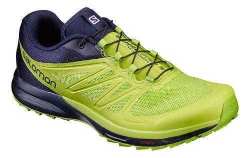 Mens Salomon Sense Pro 2 Trail Running Shoe - Navy/Lime 8.5