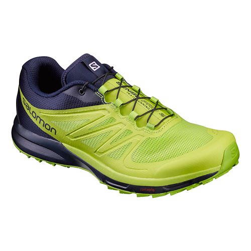 Mens Salomon Sense Pro 2 Trail Running Shoe - Navy/Lime 8.5