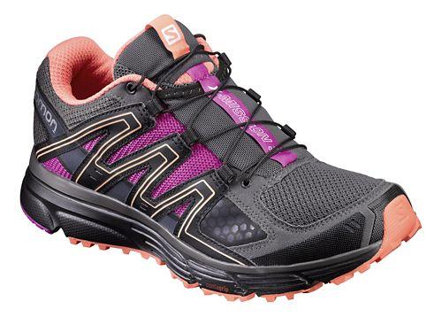 Womens Salomon X-Mission 3 Trail Running Shoe - Grey/Black/Rose 9.5