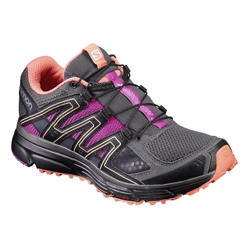 Womens Salomon X-Mission 3 Trail Running Shoe - Grey/Black/Rose 5