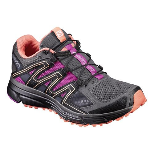 Womens Salomon X-Mission 3 Trail Running Shoe - Grey/Black/Rose 7.5