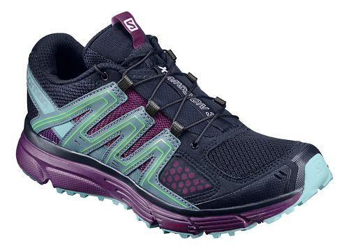 Womens Salomon X-Mission 3 Trail Running Shoe - Navy/Aqua/Purple 10.5