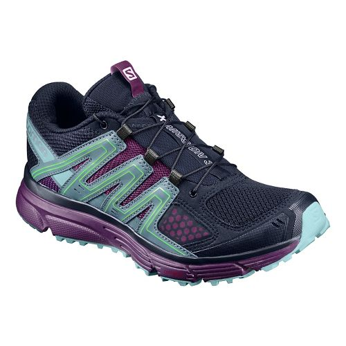Womens Salomon X-Mission 3 Trail Running Shoe - Navy/Aqua/Purple 5.5