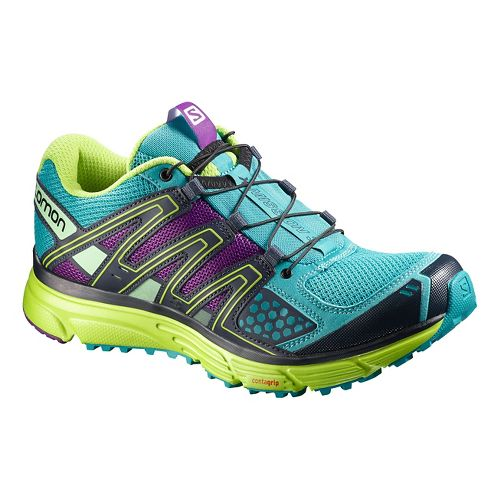 Womens Salomon X-Mission 3 Trail Running Shoe - Teal/Green 7.5