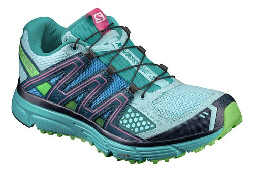 Womens Salomon X-Mission 3 Trail Running Shoe - Blue/Navy/Green 9