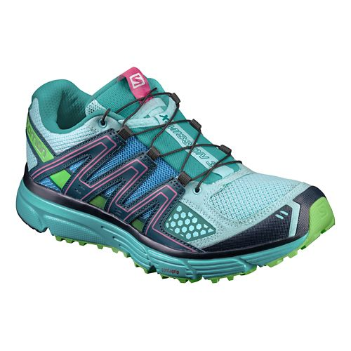 Womens Salomon X-Mission 3 Trail Running Shoe - Blue/Navy/Green 10.5