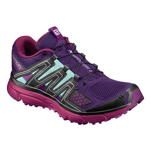 Womens Salomon X-Mission 3 Trail Running Shoe - Acai/Sangria/Aqua 10.5
