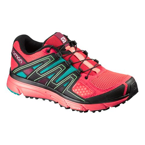 Womens Salomon X-Mission 3 Trail Running Shoe - Coral/Teal Blue 8