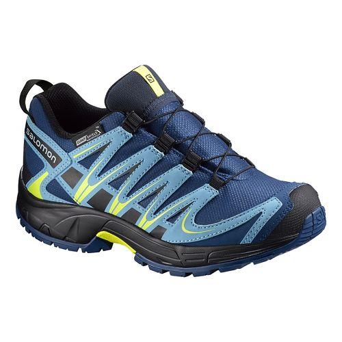 Kids Salomon XA Pro 3D CSWP Trail Running Shoe - Midnight Blue/Yellow 10.5C