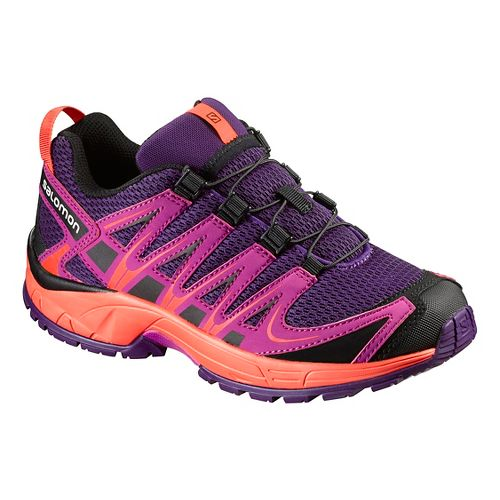 Kids Salomon XA Pro 3D J Trail Running Shoe - Cosmic Purple/Coral 1Y