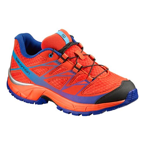 Kids Salomon Wings Trail Running Shoe - Orange/Red/ Blue 10.5C