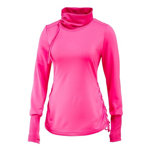 Womens Saucony Run Strong Cowl Long Sleeve Technical Tops - Black Raspberry S