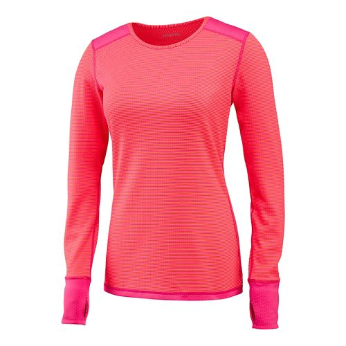 Womens Saucony Swift Long Sleeve Technical Tops - Black Raspberry M