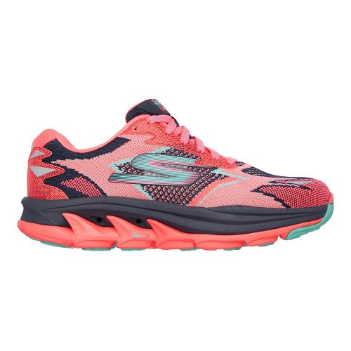 Womens Skechers GO Run Ultra R - Road Running Shoe - Navy/Coral 9