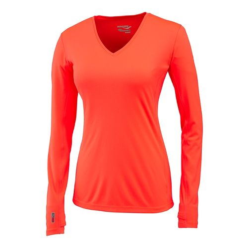 Womens Saucony Velocity Long Sleeve Technical Tops - Vizipro Electric S