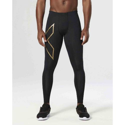 Mens 2XU Elite MCS Thermal Compression Full Length Tights - Black/Gold S-T