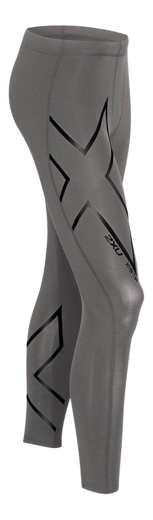 Mens 2XU Hyoptik Compression Tights & Leggings Pants - Steel/Black L