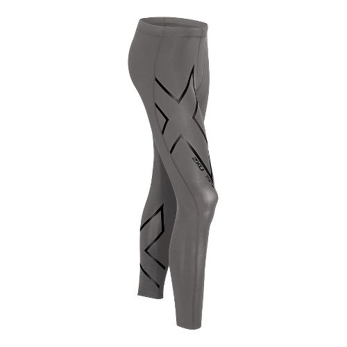 Mens 2XU Hyoptik Compression Tights & Leggings Pants - Steel/Black L