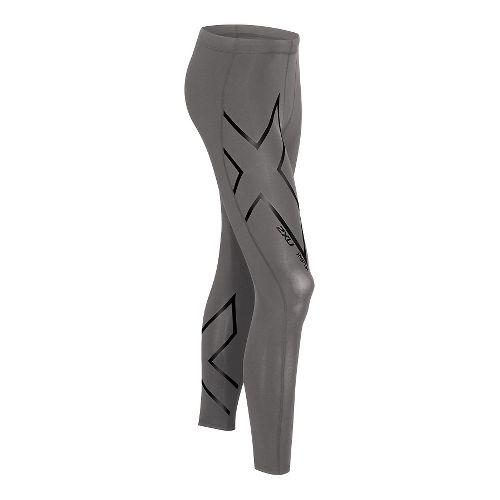Mens 2XU Hyoptik Compression Tights & Leggings Pants - Steel/Black M