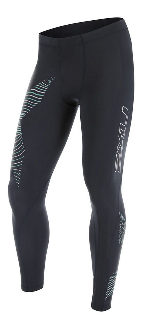 Mens 2XU Hyoptik Compression Tights & Leggings Pants - Steel/Luminescent XL