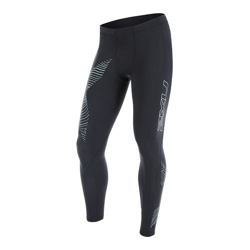 Mens 2XU Hyoptik Compression Tights & Leggings Pants - Steel/Luminescent XXL
