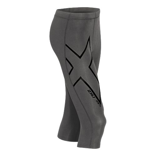 Mens 2XU Hyoptik Compression 3/4  Capri Tights - Steel/Black S
