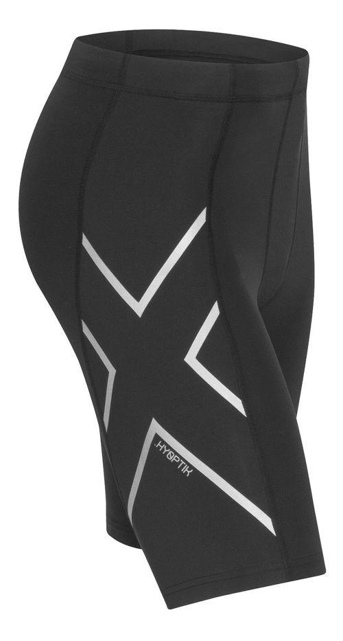 Mens 2XU Hyoptik Compression Unlined Shorts - Black/Silver XXL