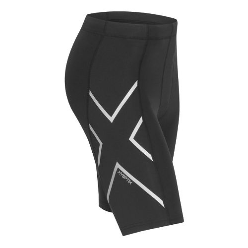 Mens 2XU Hyoptik Compression Unlined Shorts - Black/Silver M