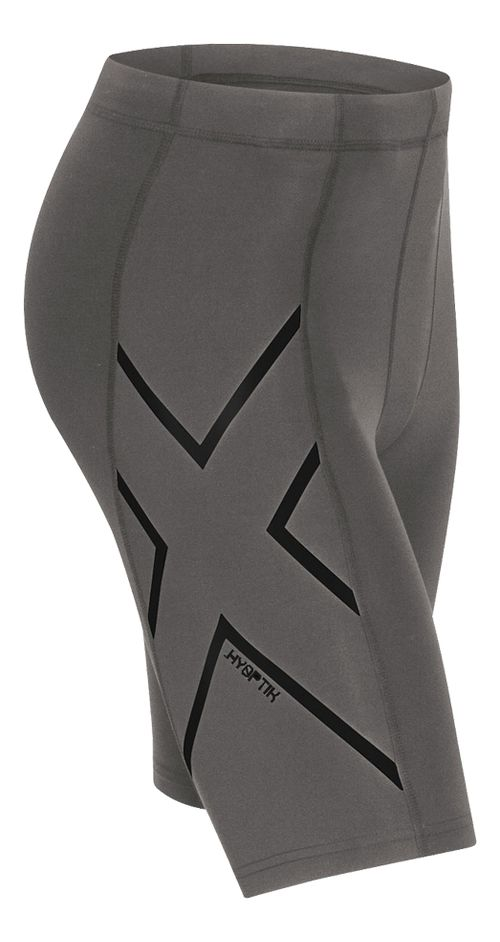 Mens 2XU Hyoptik Compression Unlined Shorts - Steel/Black XL