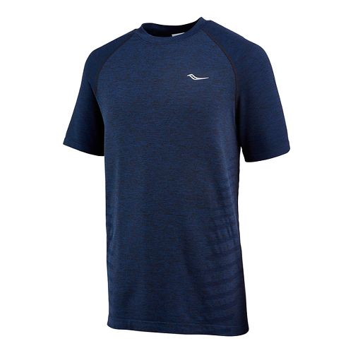Mens Saucony Dash Seamless Short Sleeve Technical Tops - Midnight S