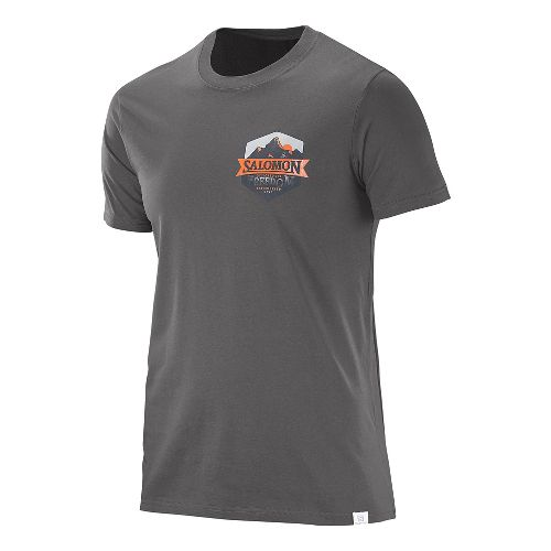 Mens Salomon Ultimate Cotton Tee Short Sleeve Technical Tops - Galet Grey L