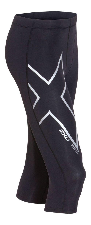 Mens 2XU Hyoptik Thermal Compression 3/4 Tights Capri Pants - Black/Silver M