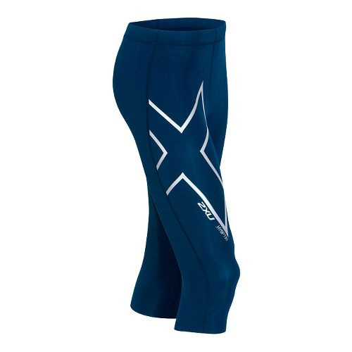 Mens 2XU Hyoptik Thermal Compression 3/4 Tights Capri Pants - Navy/Silver S