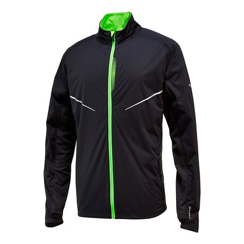 Mens Saucony Nomad Warm Up Unhooded Jackets - Black/ Vizipro Slime L