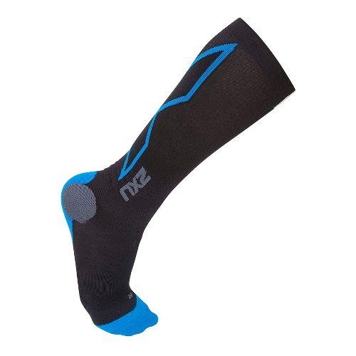 Mens 2XU Hyoptik Compression Socks Injury Recovery - Black/Vibrant Blue S