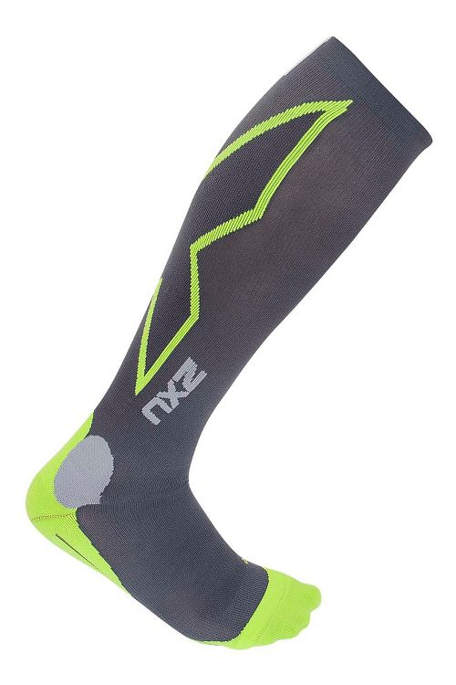 Mens 2XU Hyoptik Compression Socks Injury Recovery - Grey/Green L