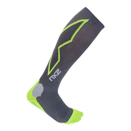 Mens 2XU Hyoptik Compression Socks Injury Recovery - Grey/Green S