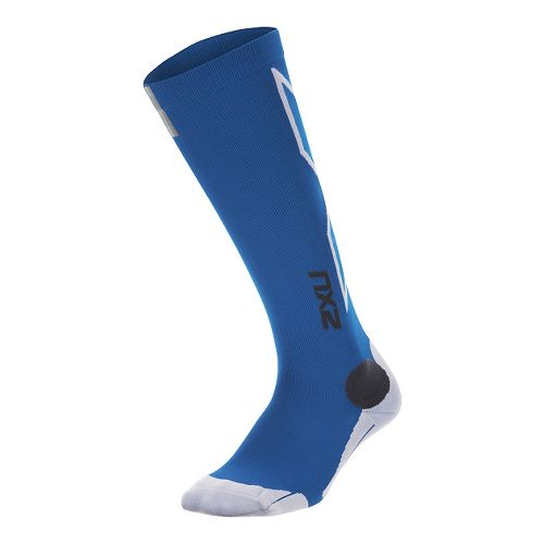 Mens 2XU Hyoptik Compression Socks Injury Recovery - Cobalt Blue/White L