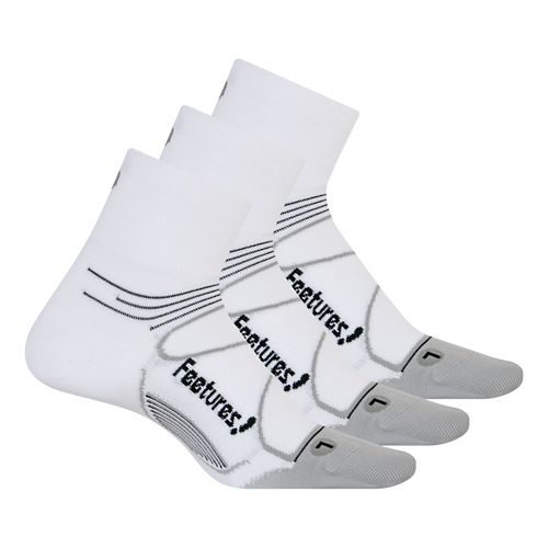 Feetures Elite Ultra Light Quarter 3 pack Socks - White/Black L