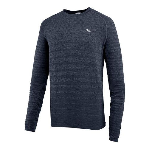 Mens Saucony Dash Seamless Long Sleeve Technical Tops - Dark Grey Heather L