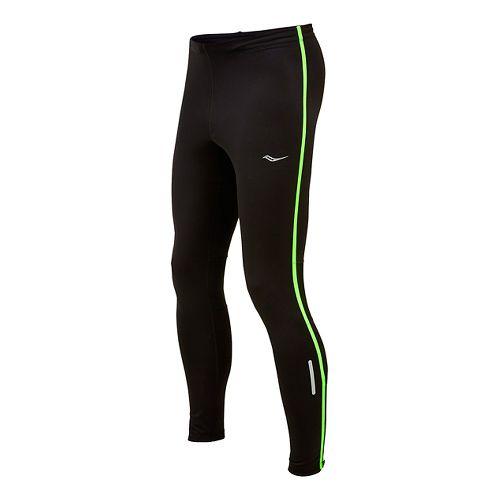 Mens Saucony Omni LX Full Length Tights - Black/ Slime S